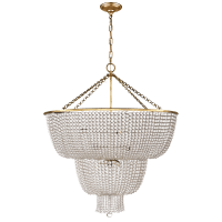 Jacqueline Two-Tier Chandelier in Hand-Rubbed Antique Brass with Clear Glass