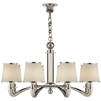 Tuileries Chandelier in Polished Nickel with Linen Shades