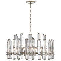 Bonnington Large Chandelier in Polished Nickel with Crystal