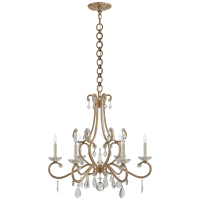 Montmartre Medium Chandelier in Hand-Rubbed Antique Brass with Crystal
