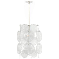 Loire Medium Barrel Chandelier in Polished Nickel with White Strie Glass