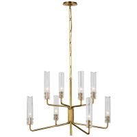 Casoria Medium Two-Tier Chandelier in Hand-Rubbed Antique Brass with Clear Glass