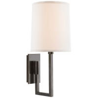 Aspect Library Sconce in Bronze with Ivory Linen Shade