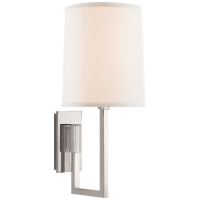 Aspect Library Sconce in Polished Nickel with Ivory Linen Shade