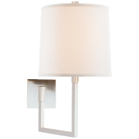 Aspect Large Articulating Sconce in Soft Silver with Ivory Linen Shade