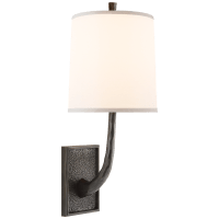 Lyric Branch Sconce in Bronze with Silk Shade