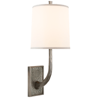 Lyric Branch Sconce in Pewter with Silk Shade