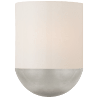 Crescent Small Sconce in Burnished Silver Leaf with White Glass