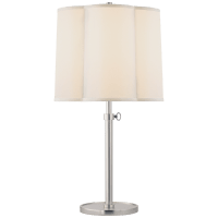 Simple Adjustable Scallop Table Lamp in Soft Silver with Silk Shade