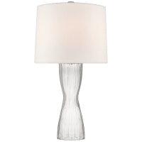 Seine Medium Table Lamp in Clear Glass with Linen Shade