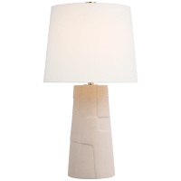 Braque Medium Debossed Table Lamp in Blush with Linen Shade