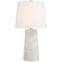 Braque Medium Debossed Table Lamp in Mixed White with Linen Shade
