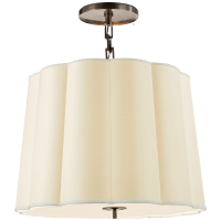 Simple Scallop Large Hanging Shade in Bronze with Silk Shade