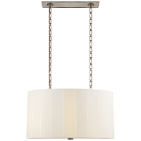 Perfect Pleat Oval Hanging Shade in Pewter with Silk Shade