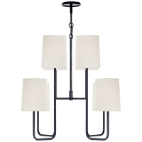 Go Lightly Medium Chandelier in Charcoal with Silk Shades