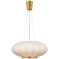 Paper Moon Medium Hanging Shade in Soft Brass with Rice Paper Shade