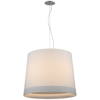 Sash Large Hanging Shade in Polished Nickel with Linen Shade Banded
