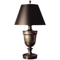 Classical Urn Form Large Table Lamp in Sheffield Nickel with Black Shade