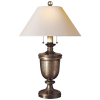 Classical Urn Form Medium Table Lamp in Sheffield Nickel with Natural Paper Shade