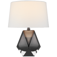 Gemma Small Table Lamp in Smoked Glass with Linen Shade