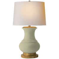 Deauville Table Lamp in Celadon Crackle with Natural Paper Shade