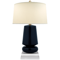 Parisienne Small Table Lamp in Denim with Natural Percale Shade