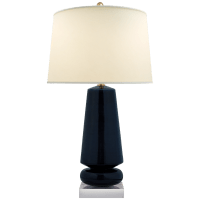 Parisienne Medium Table Lamp in Denim with Natural Percale Shade