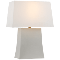 Lucera Medium Table Lamp in Porous White with Linen Shade