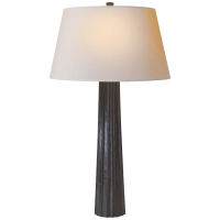 Fluted Spire Large Table Lamp in Aged Iron with Natural Paper Shade