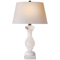 Balustrade Table Lamp in Alabaster with Natural Paper Shade