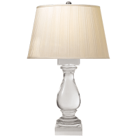 Balustrade Table Lamp in Crystal with Silk Box Pleated Shade