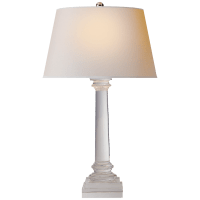 Slender Column Table Lamp in Crystal with Natural Paper Shade