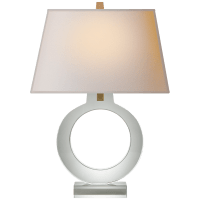 Ring Form Large Table Lamp in Crystal with Natural Paper Shade