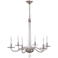 Robinson Medium Chandelier in Polished Nickel and Clear Glass