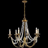 Marigot Medium Chandelier in Antique-Burnished Brass with Seeded Glass Trim