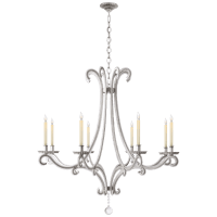 Oslo Large Chandelier in Burnished Silver Leaf with Crystal