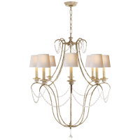Montmarte Chandelier in Old White and Glass with Natural Paper Shades