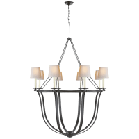 Lancaster Chandelier in Aged Iron with Natural Paper Shades