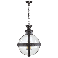 Crown Top Banded Globe Lantern in Blackened Rust with Clear Glass