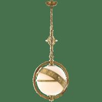 Zodiac Lantern in Antique-Burnished Brass with White Glass