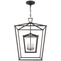 Darlana Large Double Cage Lantern in Aged Iron