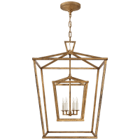 Darlana Large Double Cage Lantern in Gilded Iron