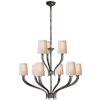 Ruhlmann 2-Tier Chandelier in Bronze with Natural Paper Shades