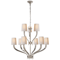 Ruhlmann 2-Tier Chandelier in Polished Nickel with Natural Paper Shades