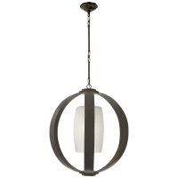 Metal Banded Large Lantern in Aged Iron with Frosted Glass