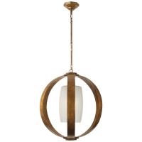 Metal Banded Large Lantern in Gilded Iron with Frosted Glass