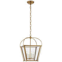 Riverside Small Square Lantern in Antique-Burnished Brass with Clear Glass