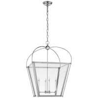 Riverside Medium Square Lantern in Polished Nickel with Clear Glass