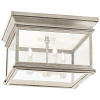 Club Large Square Flush Mount in Antique Nickel with Clear Glass