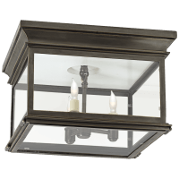 Club Large Square Flush Mount in Bronze with Clear Glass